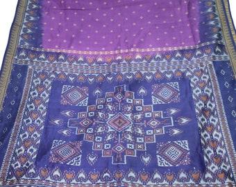 Indian Culture Vintage Purple Saree 100 % Pure Silk Patola Printed Sari Dress Making Craft Fabric