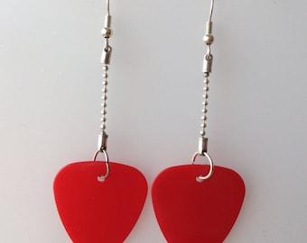 Red Guitar Pick Earrings