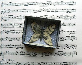 Butterfly Shadow Box, Matchbox Art, Choir Gift, Assemblage Art, Small Art, Singing Gift, Birds and Butterflies, Gift for Friend, Up cycled