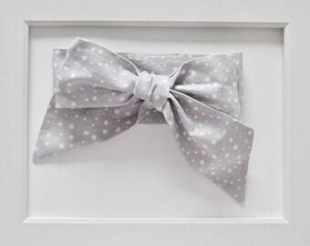 Grey Polka Dot Head-wrap/Oversized Bow Headband/Infant Headband/Toddler Headband/Baby Headband/Baby Shower Gift