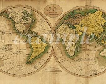 Vintage world map etsy world map of 1795 large gumiabroncs Images