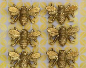 Solid Pewter Bee Magnets - Set of six