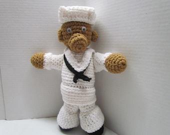 Military Sailor Bear Crochet Doll