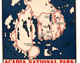Vintage Style  Acadia National Park Maine  1950's Travel Decal sticker
