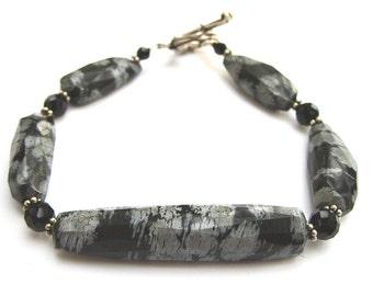 Funky Snowflake Obsidian Bracelet