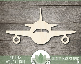 Airplane Wood Cutout, Wooden Airplane Laser Cut Shape, Blank Wood Shapes, Unfinshed Wood For DIY Projects, Airplane Nursery Room Decor