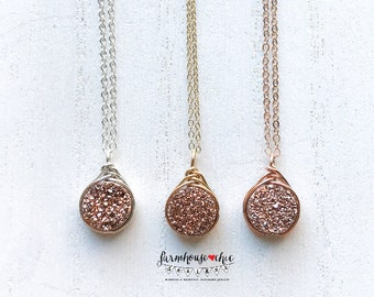 Wire Wrapped Rose Gold Druzy Necklace