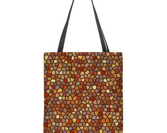 Fall tote bag, modern tote bag, faux mosaic, large tote bag, gift for mom, gift for her, orange shoulder bag, washable tote, carryall bag