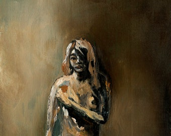 Nude Painting Fine Art Print, Figure Painting Art Print, Large Wall Art, Nude in Sepia