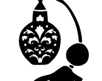 "6/6"" Vintage design perfume bottle stencil and template 1."