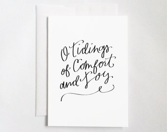 O Tidings of Comfort and Joy (5x7 Flat or Folded Card) | Hand-lettered Card, Calligraphy Card, Christmas Card, Holiday Card, Christmas Carol