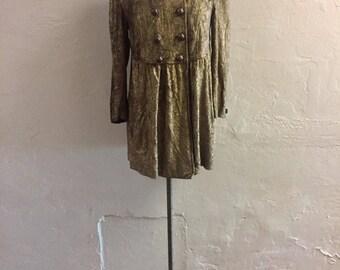 Vintage Metallic Cardigan - maternity - lamé sweatshirt - bronze top - empire waist top - double breasted - boho - XL - troppobella