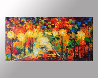 Landscape Painting, Cityscape at Night, PALETTE KNIFE, Contemporary Oil Painting, Oil On Canvas, 24x48, Textured, Ready to Hang, Autumn Art