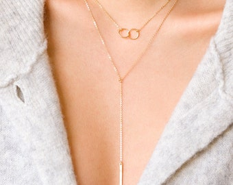 Friendship Necklace, Karma Circle Necklace, Interlocking Circle Necklace, Mother Daughter, Bridesmaid Gift, Bestfriend Gift