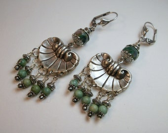 Boho Chic Earrings Green Turquoise Dangle Earrings Silver Shell Earrings Hippy Earrings
