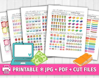 BRIGHT Multicolor Set 2 Functional Deco/Printable Planner Stickers/for use with Erin Condren/Cutfiles/Summer Coffee Pink Birthday Pay Day