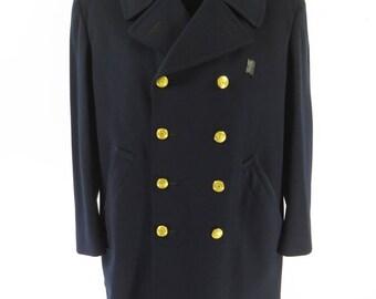Vintage 50s Chicago Police Pea Coat 44 Peacoat Mackinaw Navy Blue Wool [I16R_7-7]