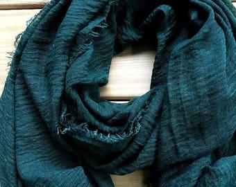Large dark green scarf - organic cotton gauze