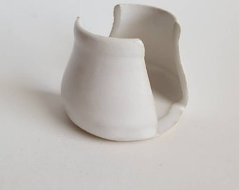White Sponge Holder Wheel Thrown Stoneware Ceramics