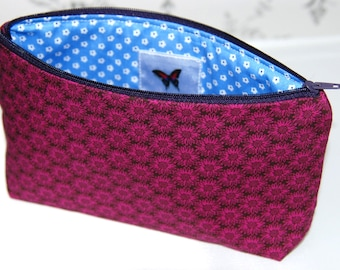 Fuchsia Sunflower Cosmetic Bag, Cosmetic Bag, Makeup Bag, Make Up Bag, Pink Makeup Bag, Pink Cosmetic Bag, Gifts for her, Birthday Gifts