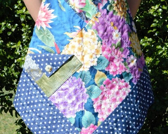 Japanese Floral Quilted Apron with Blue and White Star Backing Fabric