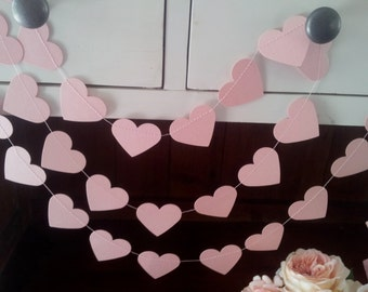 PURE ROMANCE Paper Hearts Garland - Wedding, Engagement, Party, Shower, Room decoration