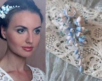 flower hairclip, jasmine hairpiece, blue bride, flower girl, girl gift, bride headband, bridesmaid headband, jasmine