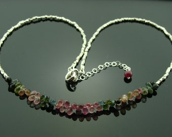 Watermelon Tourmaline 925 Sterling Silver Necklace