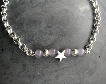 Sterling silver bracelet 3mm with agate beads in grey and sterling Silver Star/handmade/single piece/combinable/jewellery for every day