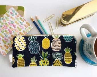 Pineapple Zipper Pouch | Clutch | Pencil Pouch | Make-up Bag