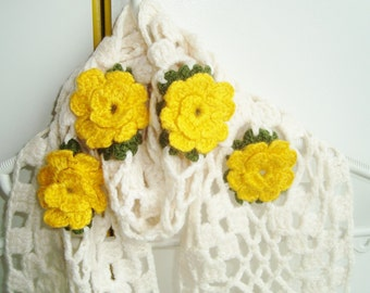 Women Scarves / Flower Scarf / Crocheted Scarf in Yellow Cream Scarf / gift for women