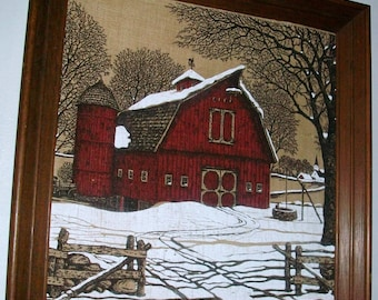 Listing N0. 18 is an Art Original Painting on burlap canvase pole barn in winter