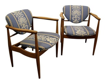 Pair of Mid-Century Danish Modern Finn Juhl John Stuart Walnut Arm Chairs