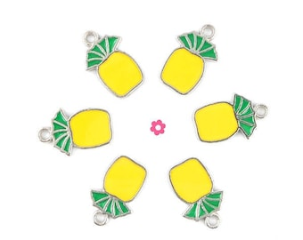 x 6 silver plated yellow pineapple 17x11mm (132D) charm