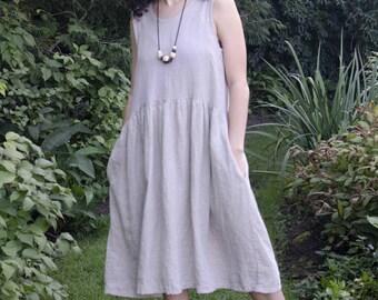 Vasilisa Frock (long) linen dress / linen clothing / women's clothing / sleeveless linen frock