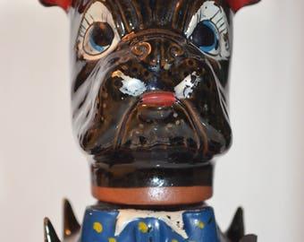 1930s/40s vintage/antique bulldog/boxer ceramic liquor bottle
