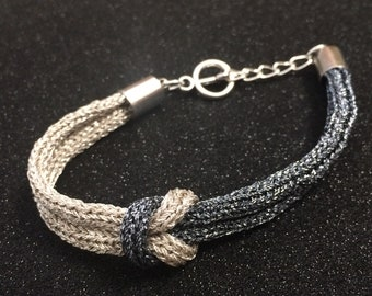 Yin Yang Interlocking knitted bracelet