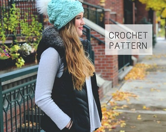 The Zig Zag Bobble Beanie Pattern // Amethyst & Cro // Instant Download // Crochet Beanie Pattern // Crochet Pattern