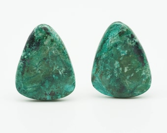 Chrysocolla pair gemstone cabochons - green chrysocolla - freeform shape gemstone - matched pair for earrings -  23mm X 30mm