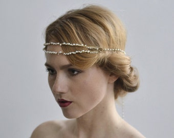 The Moon Pearl Halo - 1920s & 1930s inspired hair bridal halo, vintage wedding, Mother of Pearl, Art Deco hair accessory
