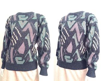 Vintage Sweater / Ugly Sweater / 1980s Sweater / 80s Sweater / Retro Sweater / Baggy Sweater / Crewneck / Small Sweater Medium Sweater