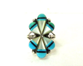 Navajo Zuni Sterling Silver Ring Old Pawn Inlay Mother of Pearl Turquoise Jet Onyx Native American Pawn Ring Signed Hallmarked .925