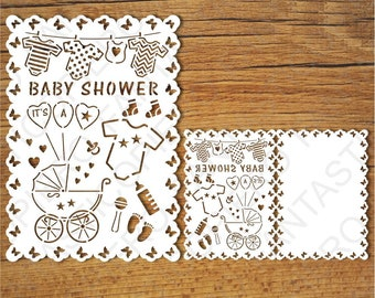 Baby Shower Card SVG Files For Silhouette Cameo And Cricut. Clipart PNG  Transparent Included.