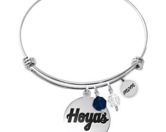 Georgetown University Hoyas Bracelet | Graduation Bracelet | MOM Bracelet | Stainless Steel Adjustable Bangle | Officially Licensed