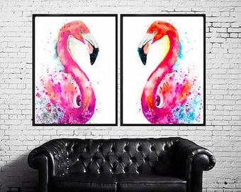 Flamingos SET watercolor painting print, Flamingo art, animal watercolor, animal illustration, Flamingo illustration, bird art, art print