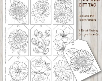 Printable PDF Gift Tag Coloring With Flower Design Instant Download Tags Adult Florals By SLS Lines