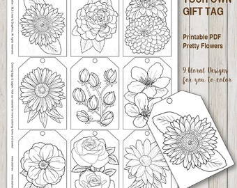 Printable PDF Gift Tag Coloring