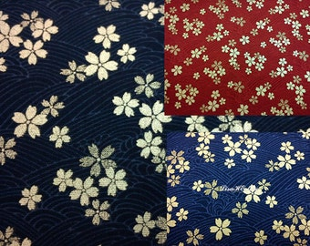 Gold cherry blossom, on water wave, 1/2 yard, pure cotton fabric
