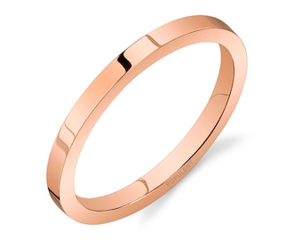 14k Rose Gold Band (2mm THIN) / PLAIN / Polished Flat + Comfort Fit / Men's Women's Wedding Ring Thin