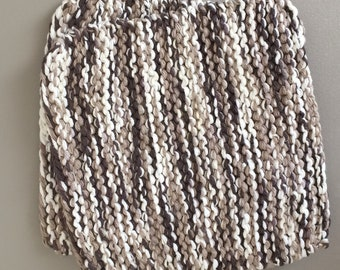 Hand Knit Cotton Pot Holders - Set of 2 - Brown and White
